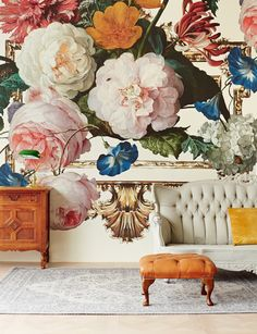Masterpiece, by Eijffinger. This beautiful floral wallpaper mural takes you into the intriguing world of old masters and exquisite details. Available through Guthrie Bowron stores in New Zealand. Of Wallpaper, Designer Wallpaper, Large Floral Wallpaper, My New Room, Victorian Homes, Victorian Home Decor, Luxury Interior, Interior Design, Wall Murals
