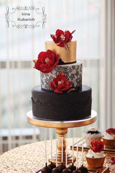 Gold,black and red birthday cake