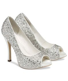 Silver Heels with sparking jewels