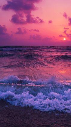 Pink sunset, sea waves, beach, wallpaper in 2019 Tumblr Wallpaper, Wallpaper Pastel, Ocean Wallpaper, Cute Wallpaper Backgrounds, Pretty Wallpapers, Galaxy Wallpaper, Nature Wallpaper, View Wallpaper, Travel Wallpaper