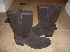 VERO-CUOIO-ITALY-SUEDE-BLACK-TALL-BOOTS-MEN-SZ-43
