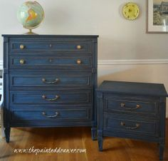 Interesting lively navy blue (!) milk paint distressed furniture. Brightened brass w/lemon juice & baking soda scrub. Looks nice!