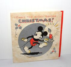 Vintage Mickey Mouse Christmas Card Walt Disney Night Before 1930s