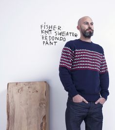 Fisher knit sweater Fisher, Manado, Cool Outfits, Men Sweater, Knitting, My Style, Clothing, Sweaters, Pants
