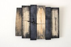So cool! Singed Edge Plank Wood Wall Clock, rustic clock, wood home decor, black edges, reclaimed recycled pallet wood on Etsy, $62.00