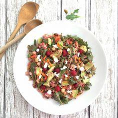 Arugula, Farro and Pistachio Salad with Raspberry Vinaigrette via MealMakeoverMoms.com/kitchen #salad #RedRazz
