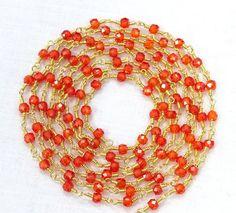 5 Feet Carnelian Faceted Zircon Beads 3 mm by Sunrisegemstone