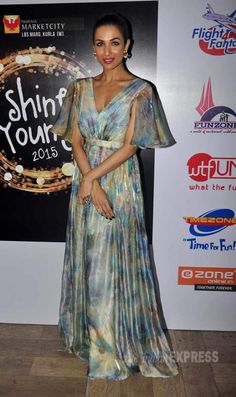 Malaika Arora Khan in a floral maxi at Shine Young 2015, a children's event organised at Phoenix Market City. #Bollywood #Fashion #Style #Beauty