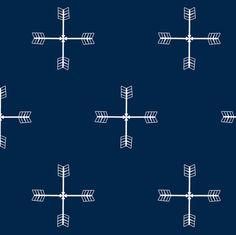 Arrow cross Navy fabric by daniellereneefalk on Spoonflower - custom fabric