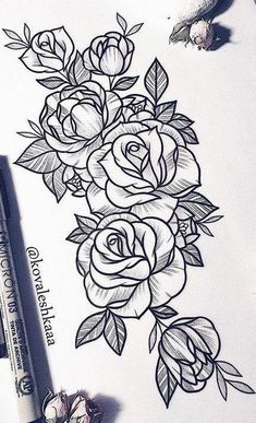 25 Beautiful Flower Drawing Information & Ideas – Rose Tattoos Rose Drawing Tattoo, Flower Tattoo Drawings, Flower Tattoo Designs, Tattoo Sketches, Flower Tattoo Stencils, Rose Tattoos, Body Art Tattoos, Sleeve Tattoos, Sexy Tattoos