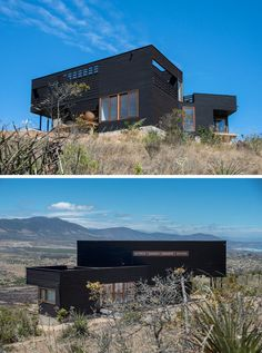 Architect Thomas Löwenstein has designed this modern black house near the beach town of Los Molles in Chile, that sits on a half acre field looking out to the mountains on one side and views of the beach on the other.