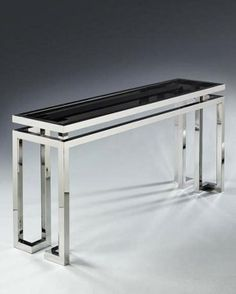 Chrome and smoke glass console table designed by François Catroux, c. 1970