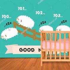 Fotobehang Schaapjes tellen | Maak het jezelf eenvoudig en bestel fotobehang voorzien van een lijmlaag bij YouPri om zo gemakkelijk jouw woonruimte een nieuwe stijl te geven. Voor het behangen heb je alleen water nodig!   #behang #fotobehang #print #opdruk #afbeelding #diy #behangen #kinderkamer #babykamer #schaapjes #schapen #schaapjestellen #cartoon #illustratie