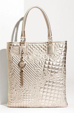 Versace 'Vanitas' Embroidered Metallic Tote ~ETS #silver #lamé #versace #quiltedbag #tote