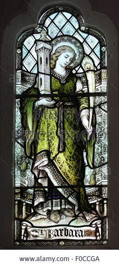Stained Glass Window Of Saint Barbara - F0CCGA from Alamy's library of millions of high resolution stock photos, illustrations and vectors.