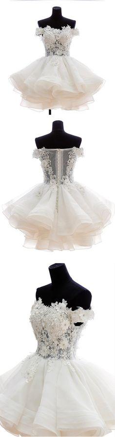 Lace appliques prom dress,Short mini prom dress,2016 short homecoming gowns,Handmade flowers prom dress,Organza short prom dress