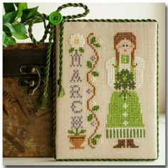 March is the third cross stitch pattern in the Little House Needleworks Calendar Girl Series that is stitched with DMC threads.