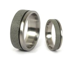 Concrete & Titanium Wedding Rings with Carbon Fiber Ring by Rosler