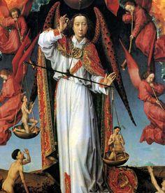 This image of the Archangel Michael is part of a painting by Rogier van der Weyden (c. 1400-1464). Hôtel-Dieu de Beaune.  --> Détail du Jugement dernier  par Rogier van der Weyden (c. 1400-1464). L'archange Michel qui a la lourde charge de peser les âmes. Hôtel-Dieu de Beaune.
