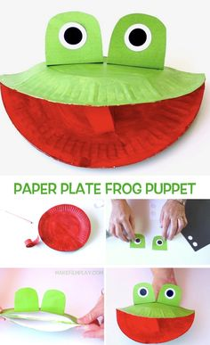 Plate Frog Puppet – Make Film Play Make this fun and easy frog puppet out of a paper plate. Paper Plate Frog Puppet – Make Film Play Make this fun and easy frog puppet out of a paper plate. Frog Crafts Preschool, Paper Plate Crafts For Kids, Animal Crafts For Kids, Daycare Crafts, Craft Activities For Kids, Diy Crafts For Kids, Fun Crafts, Craft Ideas, Planets Preschool
