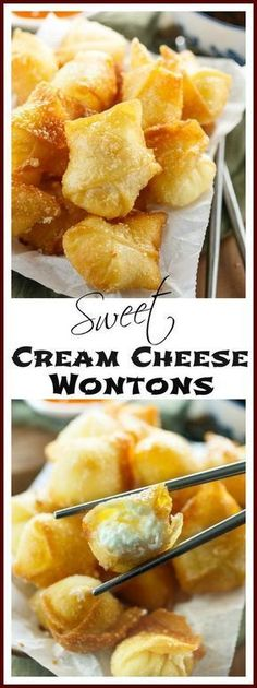 Sweet Cream Cheese Wontons: Crispy Wontons fried or baked to. Sweet Cream Cheese Wontons: Crispy Wontons fried or baked to golden perfection and filled with a sweet two-ingredient cream cheese filling. Wonton Recipes, Appetizer Recipes, Cream Cheese Recipes Dinner, Cream Cheese Appetizers, Recipes With Cream Cheese, Wonton Appetizers, Chinese Appetizers, Spicy Appetizers, Fall Appetizers