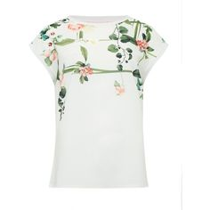 Ted Baker Wond Secret Trellis front T-shirt (6.250 RUB) ❤ liked on Polyvore featuring tops, t-shirts, cream, women, short sleeve tops, cream t shirt, woven top, short sleeve tee and white t shirt
