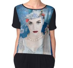 Women's Chiffon Top - Winter has arrived! Snowflake is an anti-trump administration, political protest artwork by artist Nola Lee Kelsey. This very detailed design includes images of the US Constitution, Stature of Liberty, Lady Justice, a pink pussy hat, American flag, bang eagle, naked statue of Donald Trump along with famous government buildings in Washington DC, America's capitol, all enveloped by a blizzard.