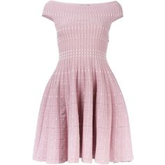 Alexander McQueen knitted flared dress (5.865 BRL) found on Polyvore featuring women's fashion, dresses, pink flare dress, short flare dress, short pink dress, pink dress and off the shoulder dress