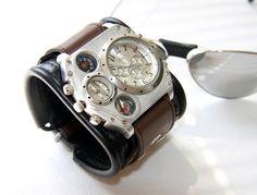 "Mens Watch Steampunk Wrist Watch Leather bracelet ""Aviator""- Gifts for Mens - SALE - Worldwide Shipping - Steampunk wrist watches"