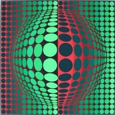 Victor Vasarely, Vega-fel (vert-rouge) - one of the screenprints in 'Colour on the Concrete' at University of Technology Sydney, May 26-June 26 2015.  #utsart   #utscolour