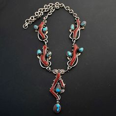 Navajo Sterling Silver RARE Natural Bisbee Turquoise Branch Coral Necklace USA | eBay