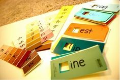Practice phonics while re-purposing paint swatches.