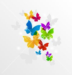 Free Vector | Abstract rainbow butterflies colorful background vector 2000348 - by smeagorl on VectorStock®