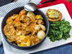 ... Beef & Vegetable Stew with Sautéed Kale, Mushrooms & Tomato Gratinee
