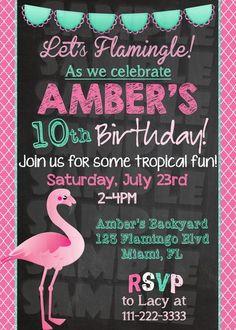 Flamingo Birthday Invitation - Printable (Digital File Only)