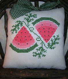Repurposed Watermelon Cross Stitch Cross Stitching, Cross Stitch Embroidery, Cross Stitch Fruit, Summer Things, Primitive Folk Art, Shirt Quilt, Crossstitch, Needlepoint, Needlework