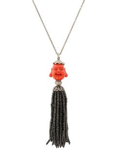 Randi Elyse Sterling Silver Red Coral Buddha with Spinel Tassel. Available at London Jewelers!