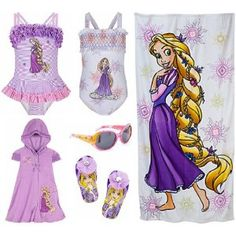 e27a967ac8 Disney Store Tangled Princess Rapunzel Swimwear Swimsuit Gift Set with 2  Bathing Swim Suits and Hooded Cover Up for Youth Girls in Size Small plus  Matching ...
