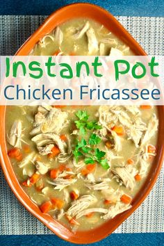 A classic French dish made with tender, juicy chicken, onion, carrot celery in a creamy sauce. It's quick and easy to make in the Instant Pot! Healthy Meals To Cook, Easy Healthy Recipes, Easy Dinner Recipes, Healthy Eats, Turkey Recipes, Chicken Recipes, Chicken Fricassee, Classic French Dishes, Pressure Cooker Recipes