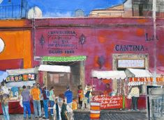 Watercolours, drawings and prints by Peter Quinn. City Landscape, Landscape Paintings, Mexico City, Watercolor, Architecture, Drawings, Art Styles, Prints, Life