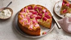 This easy rhubarb cake recipe is wonderful served warm as a pudding with cream or custard, or is equally delicious enjoyed with a cup of tea or coffee. Apple Sandwich, Sandwich Cake, Creme Fraiche, Cake Recipes Bbc, Dessert Recipes, Pudding Desserts, Tart Recipes, Sweet Recipes, Springform Cake Tin