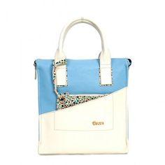 Καθημερινή τσάντα άσπρη-γαλάζια 29,90