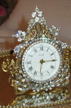 Bejeweled Vintage Cherub Clock 29 Elegant & Opulent By Debbie Del Rosario-Weiss, Juliana,brush, comb, vintage, Clock,tray, mirror, perfume, antique, vintage, victorian, Sparkle,