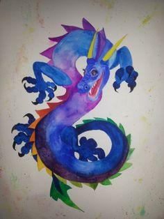 Dragon watercolor (35x50) 6/2014 - sold