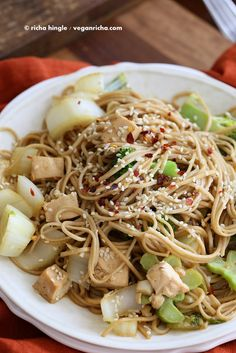 Tofu Broccoli Bok Choy Stir fry with Garlic Sesame Soy Sauce and Soba Noodles. Vegan Recipe