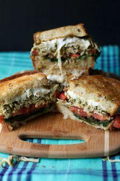 Pesto Chicken and Mozzarella Grilled Cheese Sandwich