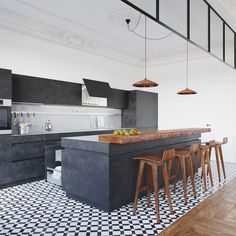 Minimal modern kitchen in a home in Borovliany, Belarus designed by NORDES
