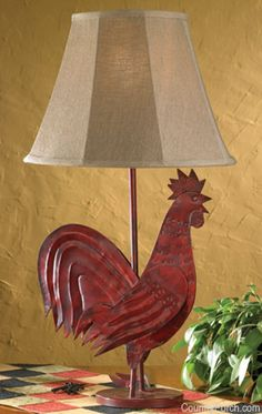 Red rooster lamp