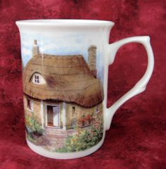 Mug English Thatched Cottage And Garden English Bone China New