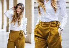 Wide leg trousers in a mustard color. Love the tie waist. Some people might be scared off by the color, but just look at how well it goes with a white button down. White Button Down Shirt, Wide Leg Trousers, Mustard Yellow, Spring Fashion, Dress Up, Style Inspiration, My Style, Pants, How To Wear